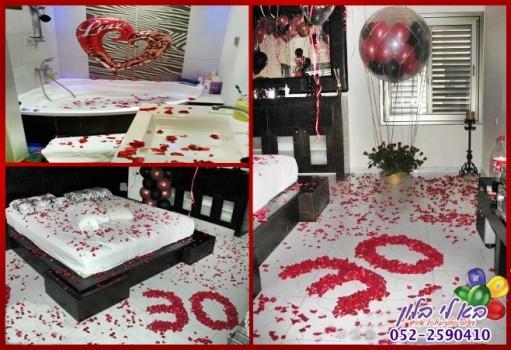 עיצוב דירה בבלונים ופרחים ליום הולדת 30