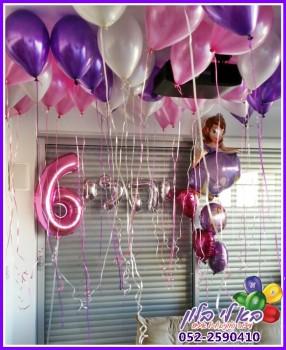 עיצוב בלונים ליום הולדת, בלון הספרה 6, בלונים אותיות לכיתוב השם, דמות הנסיכה סופיה מבלונים..